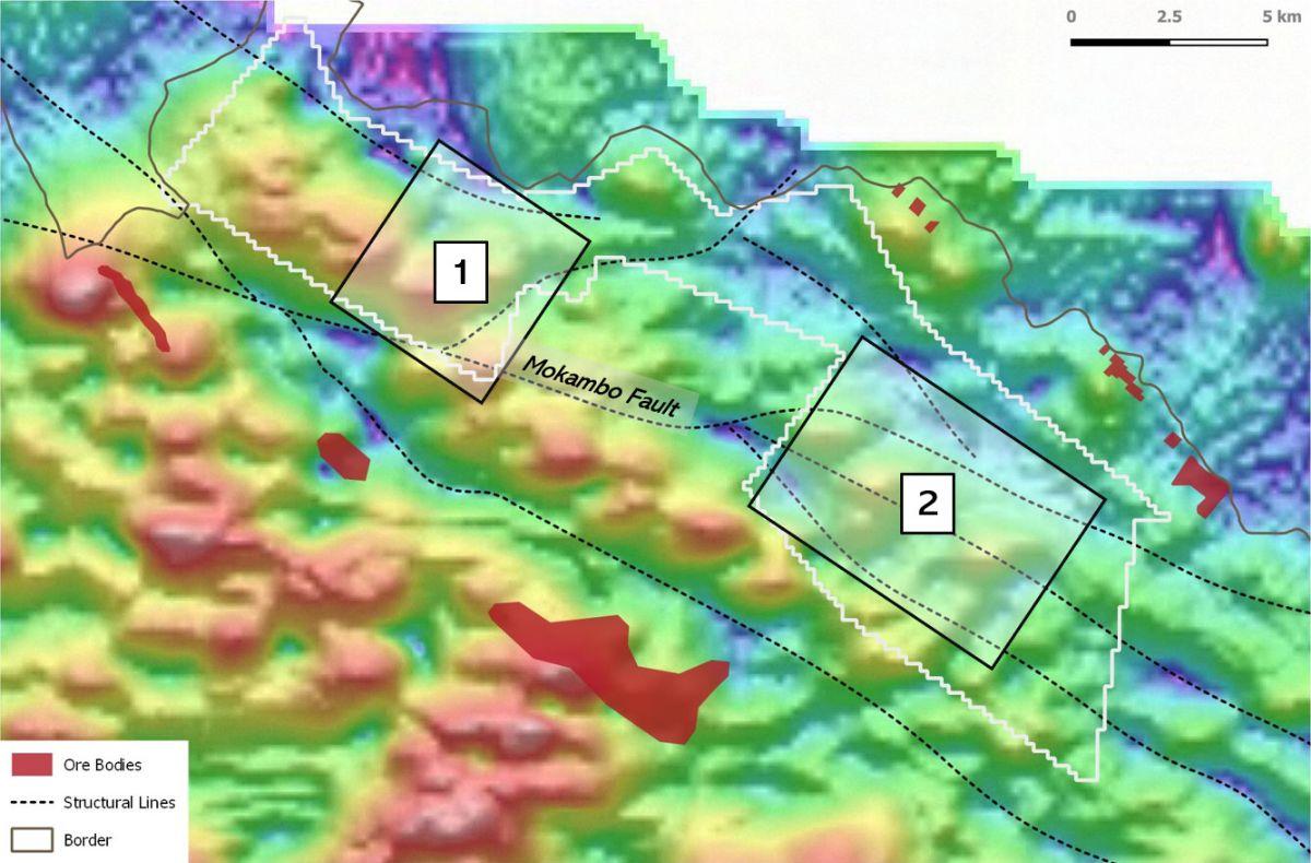 Zamare Minerals's copper mining targets in the Murundi licence