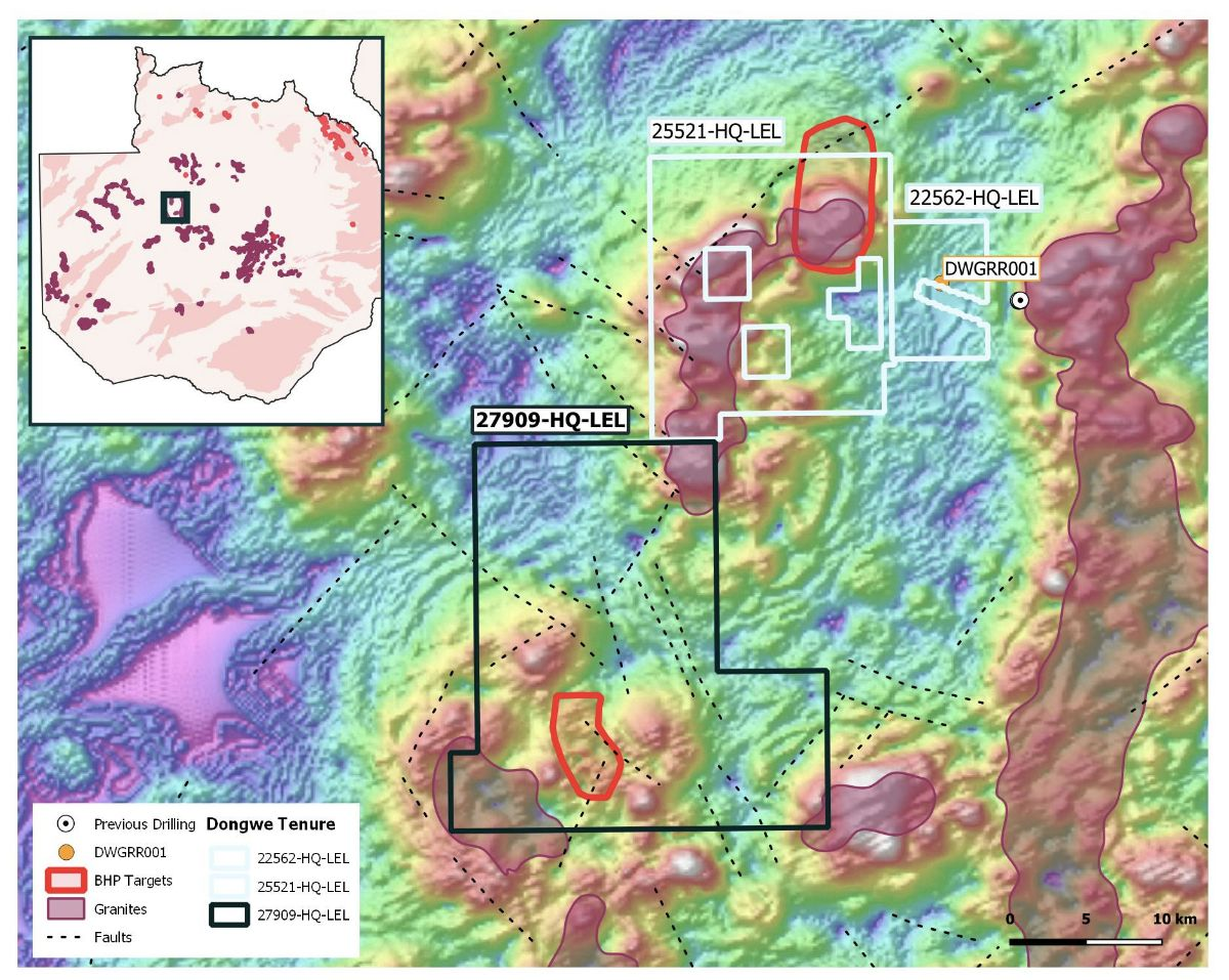 Location of new Dongwe 27909 licence over regional aeromagnetic data. Targets from historic, BHP gravity surveying (Falcon) show untested targets in the Dongwe project area.